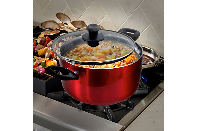 Oster Oster Merrion 6 Quart Nonstick Aluminum Dutch Oven with Glass Lid in Red, , large
