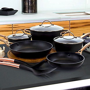 Oster Allsberg 10 Piece Aluminum Nonstick Cookware Set with Lids and Copper Handles, , rollover