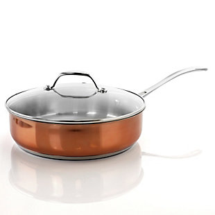 Oster Carabello 2 Piece 3.5 Quart Stainless Steel Saute Pan with Lid in Copper, , large
