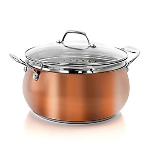 Oster Carabello 2 Piece 6.9 Quart Stainless Steel Dutch Oven in Copper with Steamer Insert and Lid, , large
