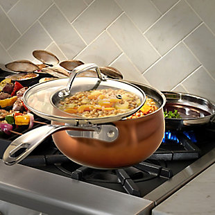 Oster Carabello 2 Piece 2.6 Quart Stainless Steel Saucepan with Lid in Copper, , rollover