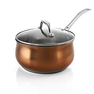 Oster Carabello 2 Piece 2.6 Quart Stainless Steel Saucepan with Lid in Copper, , large