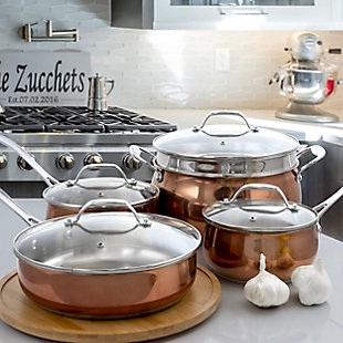 Oster Carabello 9 Piece Stainless Steel Cookware Combo Set in Copper, , rollover