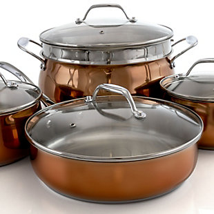 Oster Carabello 9 Piece Stainless Steel Cookware Combo Set in Copper, , large