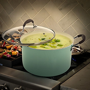 Oster Carrick 2 Piece 6 Quart Aluminum Dutch Oven with Lid in Mint, , rollover