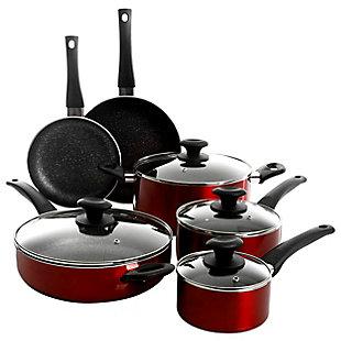 Oster Merrion 10 Piece Nonstick Aluminum Cookware Set in Red, , rollover