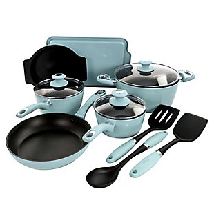 Oster Lynhurst 12 Piece Nonstick Aluminum Cookware Set in Blue with Kitchen Tools, Blue, rollover