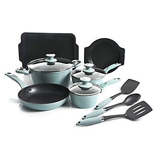 Oster Lynhurst 12 Piece Nonstick Aluminum Cookware Set in Blue with Kitchen Tools, Blue, large