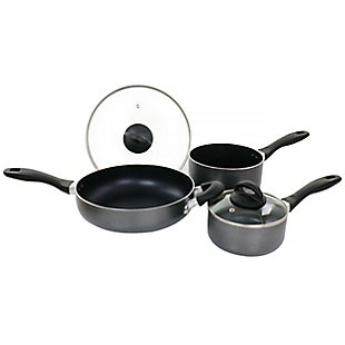 Oster Clairborne 5 Piece Aluminum Nonstick Cookware Set with Lids in Charcoal Grey, , large