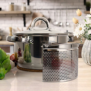 Oster Sangerfield 5 Piece 4 Quart Stainless Steel Dutch Oven with Lid and 3-Section Dividers, , rollover