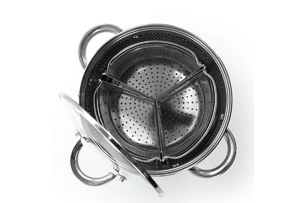Oster Sangerfield 5 Piece 4 Quart Stainless Steel Dutch Oven with Lid and 3-Section Dividers, , large