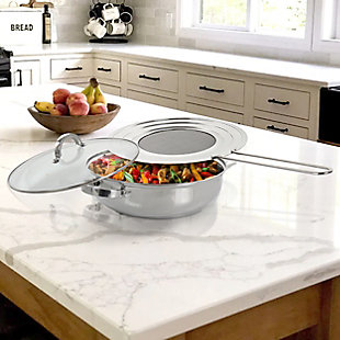 Oster Sangerfield 3 Piece 4 Quart Stainless Steel Saute Pan with Lid and Splatter Guard, , rollover
