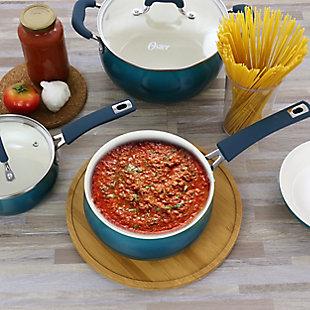 Oster Corbett 8 Piece Nonstick Aluminum Cookware Set in Teal, Blue, rollover