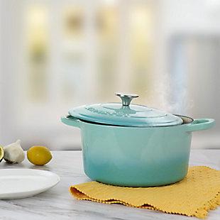 Crock-Pot Artisan 2 Piece 5 Quarts Enameled Cast Iron Dutch Oven in Aqua Blue, , rollover
