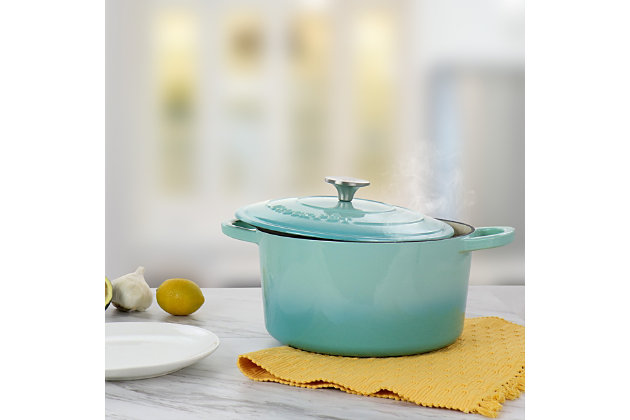 Crock-Pot Artisan 2 Piece 5 Quarts Enameled Cast Iron Dutch Oven in Aqua Blue, , large