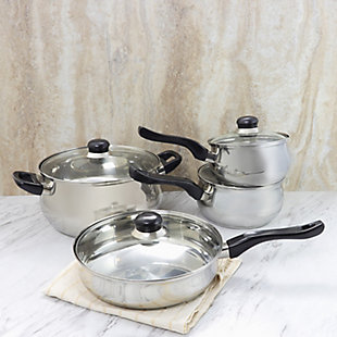 Oster Rametto 8 Piece Stainless Steel Kitchen Cookware Set with Glass Lids, , rollover