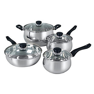 Oster Rametto 8 Piece Stainless Steel Kitchen Cookware Set with Glass Lids, , large