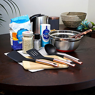 Oster Kitchen Bliss Kitchen Tools Set with Rose Gold Handle, Set of 5, Metallic, rollover