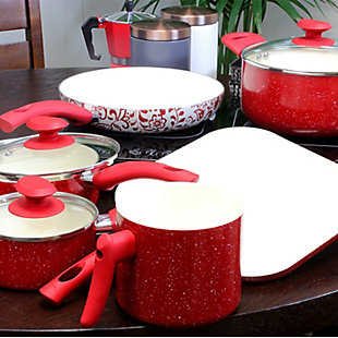 Oster Cocina San Jacinto Aluminum Cookware Set in Red Speckled Finish, Set of 9, , rollover