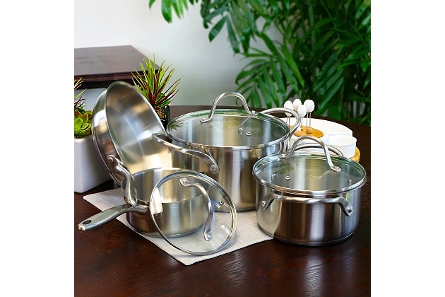 Oster Cuisine Gainsford 7 Piece Stainless Steel Cookware Set, , large
