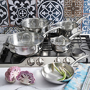 Oster Cuisine Saunders 9 Piece Cookware Set in Silver Mirror Polish, , rollover