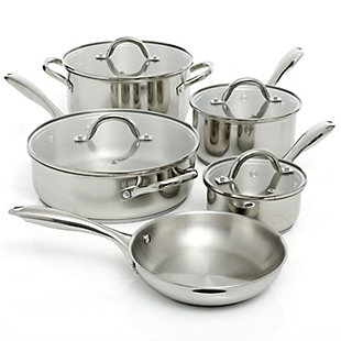 Oster Cuisine Saunders 9 Piece Cookware Set in Silver Mirror Polish, , large