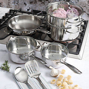 Oster Cuisine Kellerton 10 Piece Cookware Set with Copper Accents, , rollover
