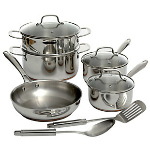 Oster Cuisine Kellerton 10 Piece Cookware Set with Copper Accents, , large