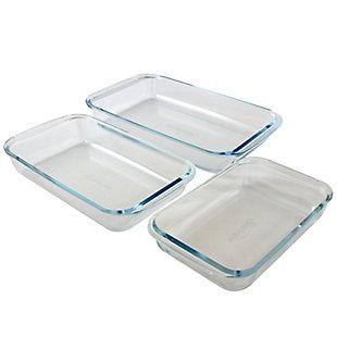 Sunbeam Everyday Casseroles 3-Piece Borosilicate Glass Bakeware Set, Clear, , rollover