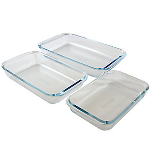 Sunbeam Everyday Casseroles 3-Piece Borosilicate Glass Bakeware Set, Clear, , large