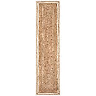 LR Home Bleached Bordered Tan Jute Table Runner, , large