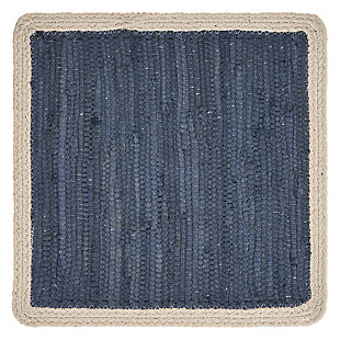 LR Home Delicate Bordered Square Indigo Placemats (Set of 4), Blue, large
