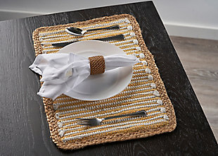LR Home Striped Sunny Day Bordered Placemats (Set of 4), , rollover