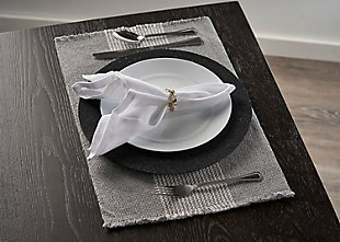 LR Home Bold Striped Gray Placemats (Set of 4), Gray, rollover