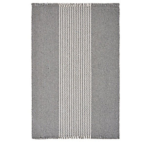 LR Home Bold Striped Gray Placemats (Set of 4), Gray, large