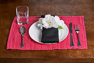 LR Home Solid Magenta Placemats (Set of 4), Red, rollover