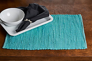 LR Home Solid Teal Placemats (Set of 4), , rollover