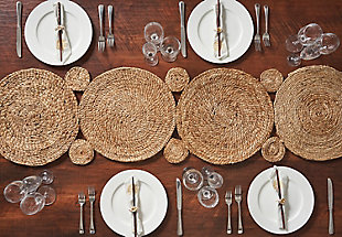 LR Home Connected Jute Circles Table Runner, , rollover