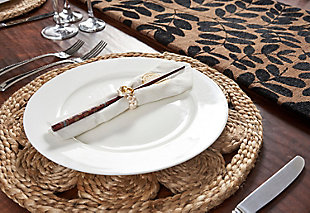 LR Home Bordered Braided Jute Placemats (Set of 2), , rollover