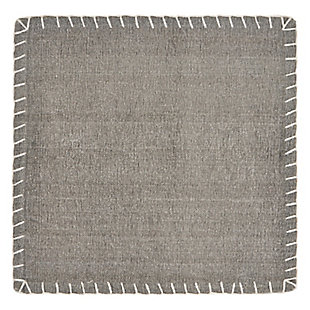 LR Home Gray Embroidered Edge Square Placemats (Set of 4), Gray, large