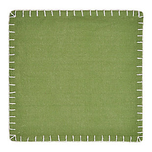 LR Home Olive Green Embroidered Edge Placemats (Set of 4), Green, large