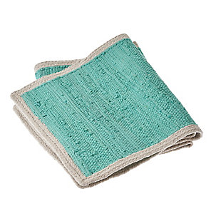 LR Home Bordered Turquoise Table Runner, Green, large