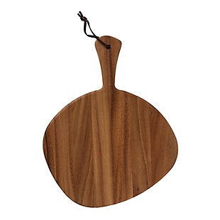 Bloomingville Irregular Shaped Acacia Wood Cutting Board/Tray with Leather Strap, , large