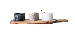 Bloomingville Acacia Wood Board with 3 Marble Pinch Pots & Spoon (Set of 5 Pieces), , large