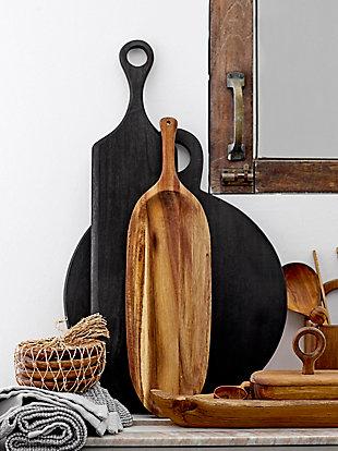 Bloomingville Black Acacia Wood Tray/Cutting Board, , rollover
