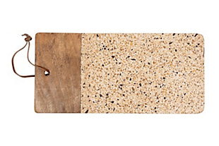 Bloomingville Brown Terrazzo & Wood Tray/Cutting Board with Leather Tie, , rollover