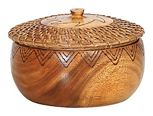"""Bloomingville 9.5"""" Round Woven Rattan & Acacia Wood Kitchen Container with Lid & Burned Design, , large"""