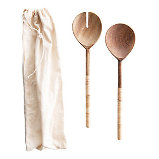 Creative Co-Op Wood Salad Servers with Bamboo Handles (Set of 2), , large