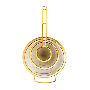Bloomingville Set of 3 Stainless Steel Strainers with Gold Finish, , large