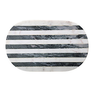 Bloomingville Black & White Striped Marble Cutting Board, , rollover